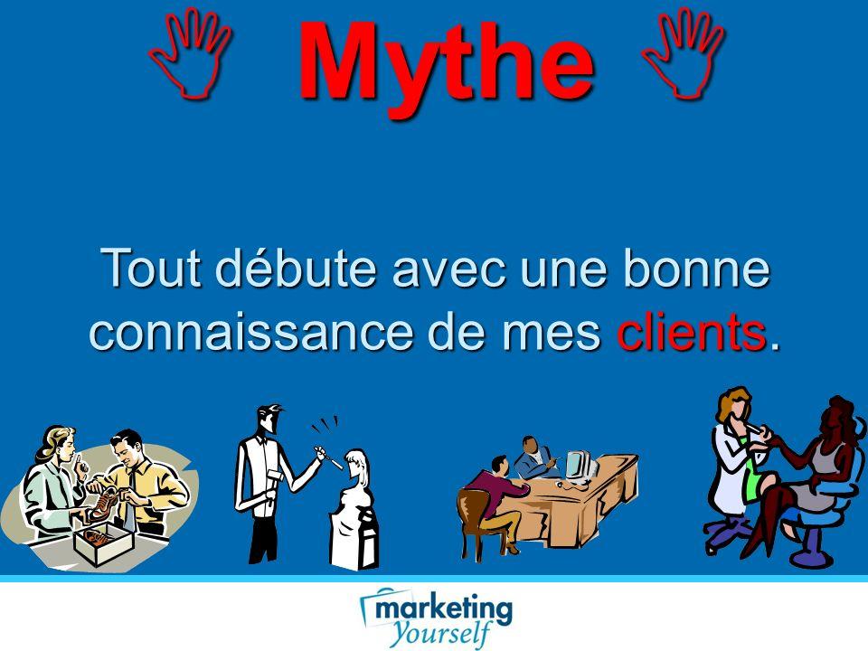 Mythe Mythe Tout débute avec une bonne connaissance de mes clients.