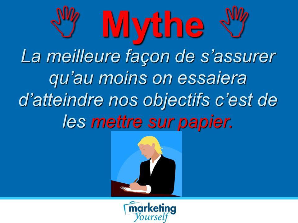 Mythe Mythe La meilleure façon de sassurer quau moins on essaiera datteindre nos objectifs cest de les mettre sur papier.