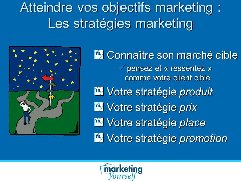 Atteindre vos objectifs marketing : Les stratégies marketing Connaître son marché cible Connaître son marché cible pensez et « ressentez » comme votre