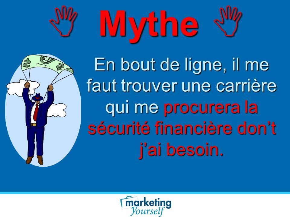 Mythe Mythe En bout de ligne, il me faut trouver une carrière qui me procurera la sécurité financière dont jai besoin.