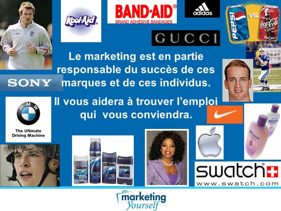 Le marketing est en partie responsable du succès de ces marques et de ces individus. Il vous aidera à trouver lemploi qui vous conviendra.