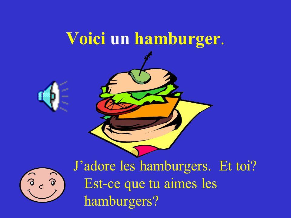 Voici un hamburger. Jadore les hamburgers. Et toi? Est-ce que tu aimes les hamburgers?