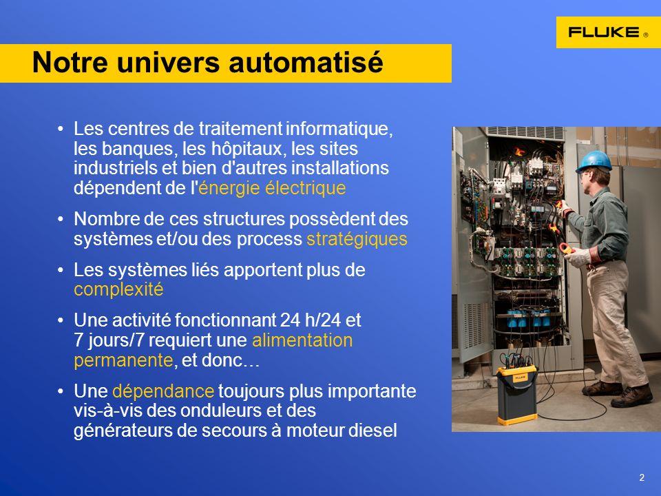 2 Notre univers automatisé Les centres de traitement informatique, les banques, les hôpitaux, les sites industriels et bien d'autres installations dép