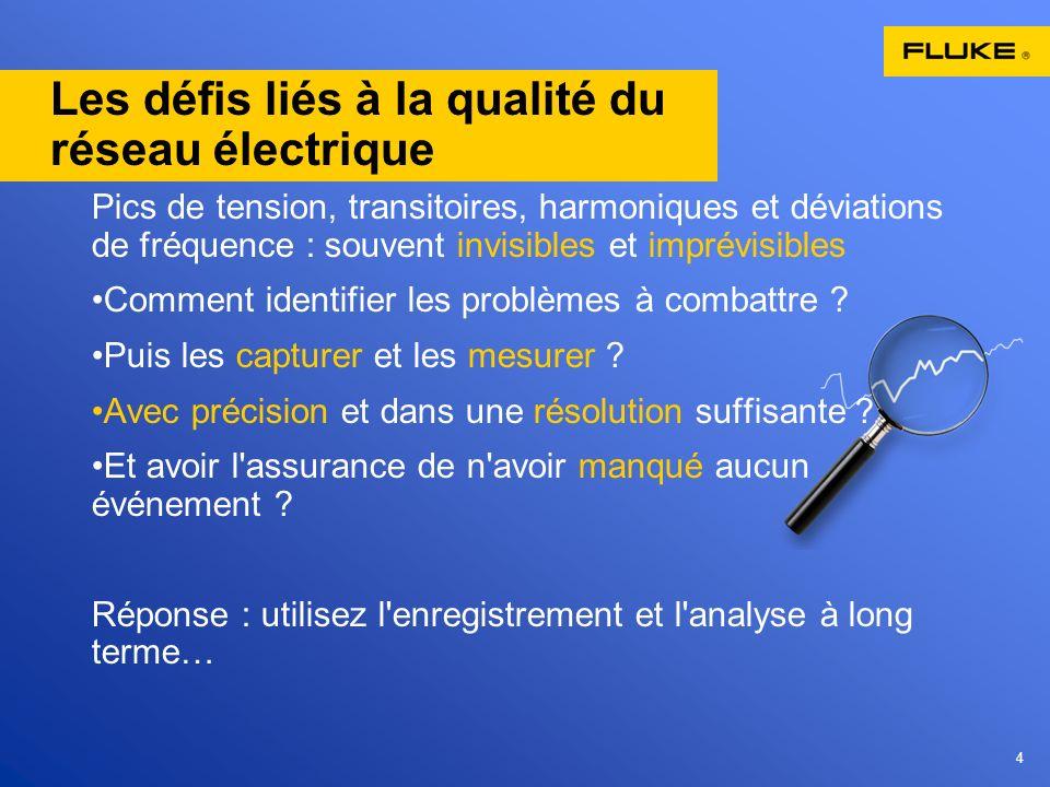 4 Les défis liés à la qualité du réseau électrique Pics de tension, transitoires, harmoniques et déviations de fréquence : souvent invisibles et impré