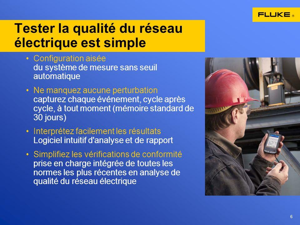 6 Tester la qualité du réseau électrique est simple Configuration aisée du système de mesure sans seuil automatique Ne manquez aucune perturbation cap