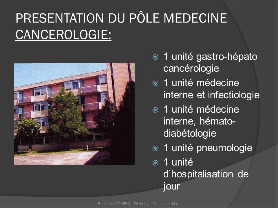 PRESENTATION DU PÔLE MEDECINE CANCEROLOGIE: 1 unité gastro-hépato cancérologie 1 unité médecine interne et infectiologie 1 unité médecine interne, hém