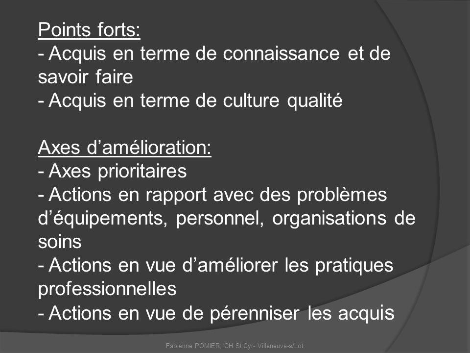 Points forts: - Acquis en terme de connaissance et de savoir faire - Acquis en terme de culture qualité Axes damélioration: - Axes prioritaires - Acti