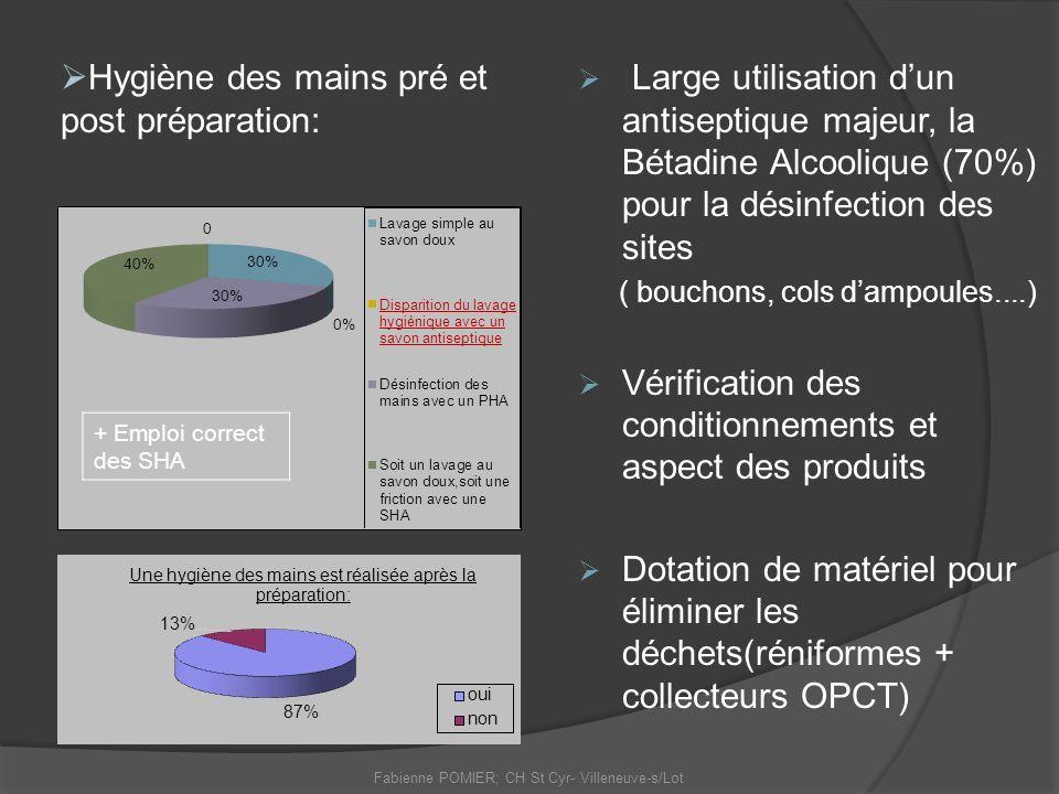 Fabienne POMIER; CH St Cyr- Villeneuve-s/Lot Large utilisation dun antiseptique majeur, la Bétadine Alcoolique (70%) pour la désinfection des sites (