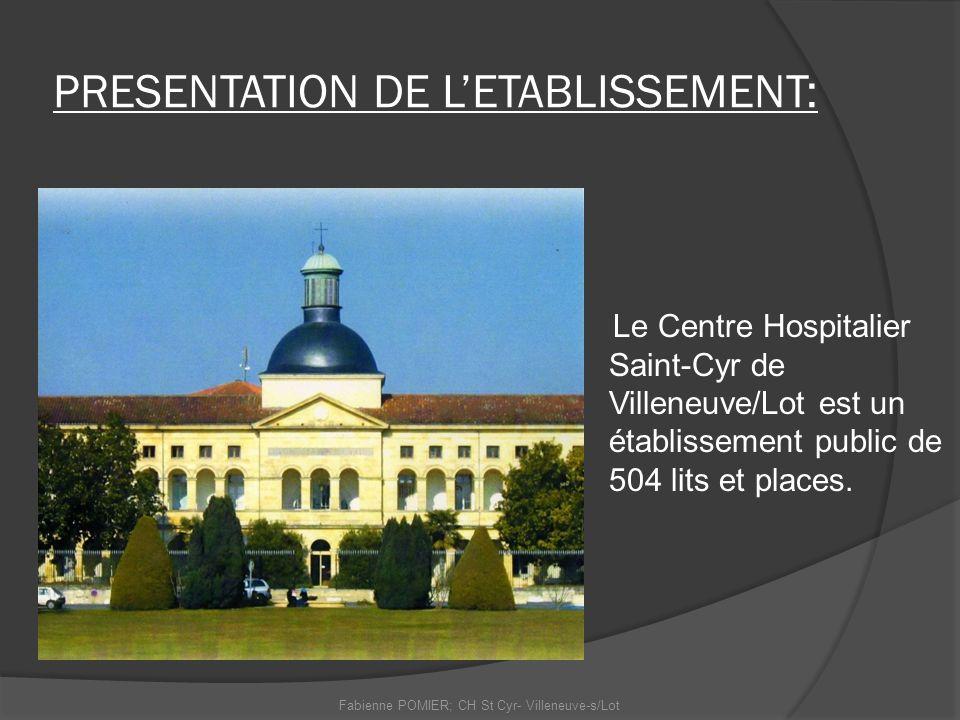 PRESENTATION DE LETABLISSEMENT: Le Centre Hospitalier Saint-Cyr de Villeneuve/Lot est un établissement public de 504 lits et places. Fabienne POMIER;