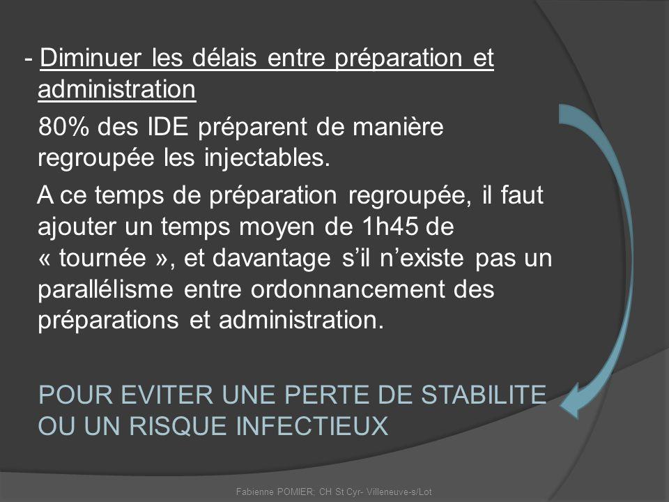 - Diminuer les délais entre préparation et administration 80% des IDE préparent de manière regroupée les injectables. A ce temps de préparation regrou