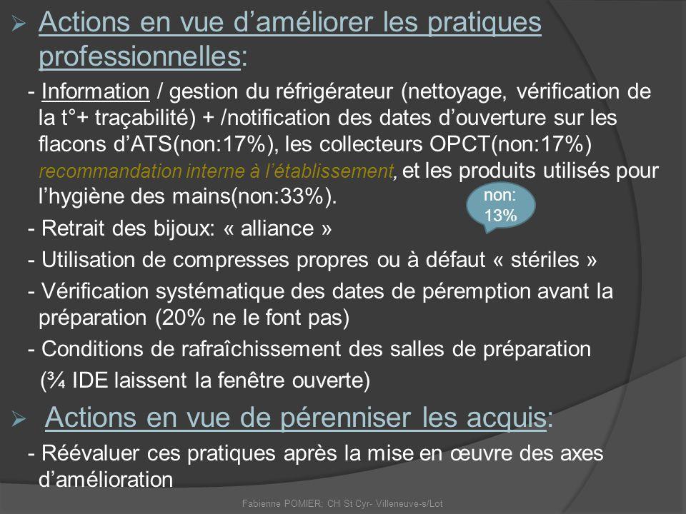 Fabienne POMIER; CH St Cyr- Villeneuve-s/Lot Actions en vue daméliorer les pratiques professionnelles: - Information / gestion du réfrigérateur (netto
