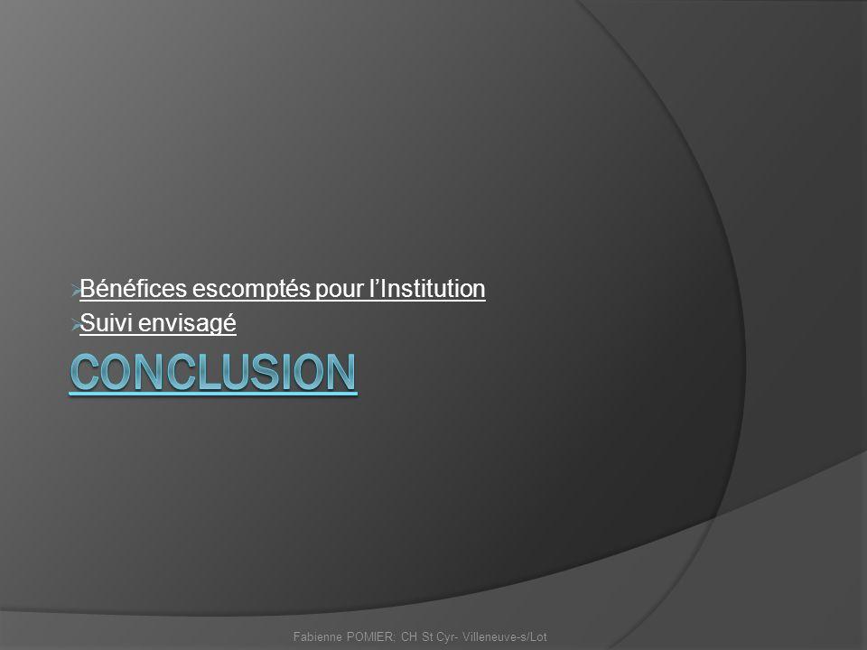 Bénéfices escomptés pour lInstitution Suivi envisagé Fabienne POMIER; CH St Cyr- Villeneuve-s/Lot