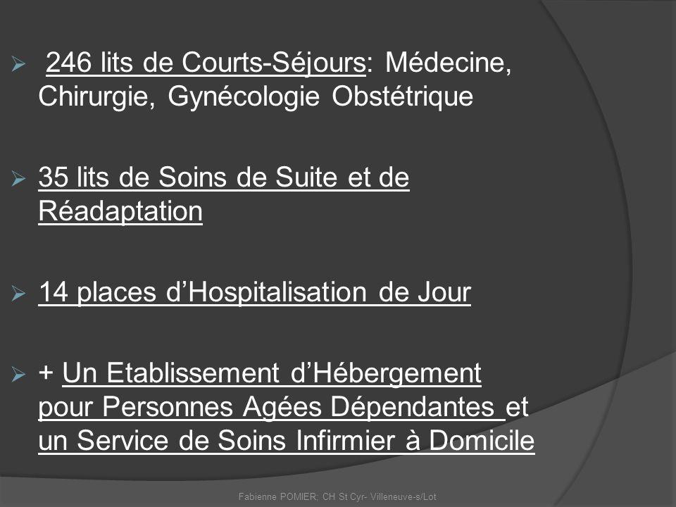 246 lits de Courts-Séjours: Médecine, Chirurgie, Gynécologie Obstétrique 35 lits de Soins de Suite et de Réadaptation 14 places dHospitalisation de Jo
