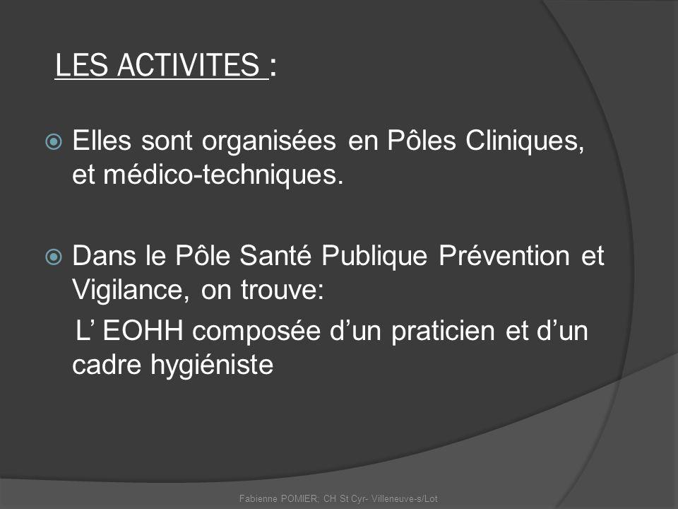 LES ACTIVITES : Elles sont organisées en Pôles Cliniques, et médico-techniques. Dans le Pôle Santé Publique Prévention et Vigilance, on trouve: L EOHH
