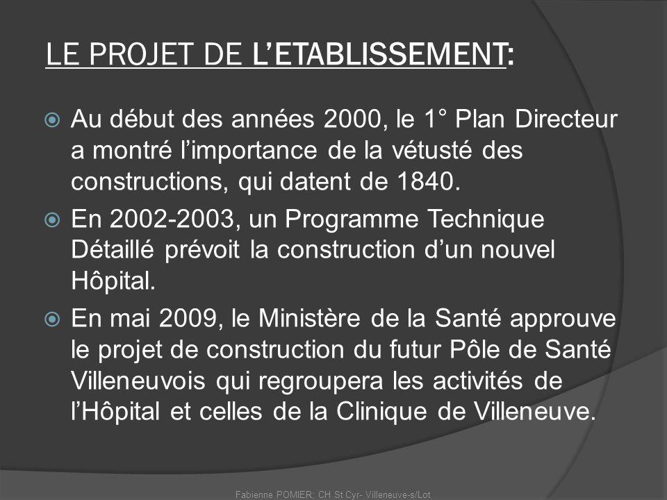 LE PROJET DE LETABLISSEMENT: Au début des années 2000, le 1° Plan Directeur a montré limportance de la vétusté des constructions, qui datent de 1840.