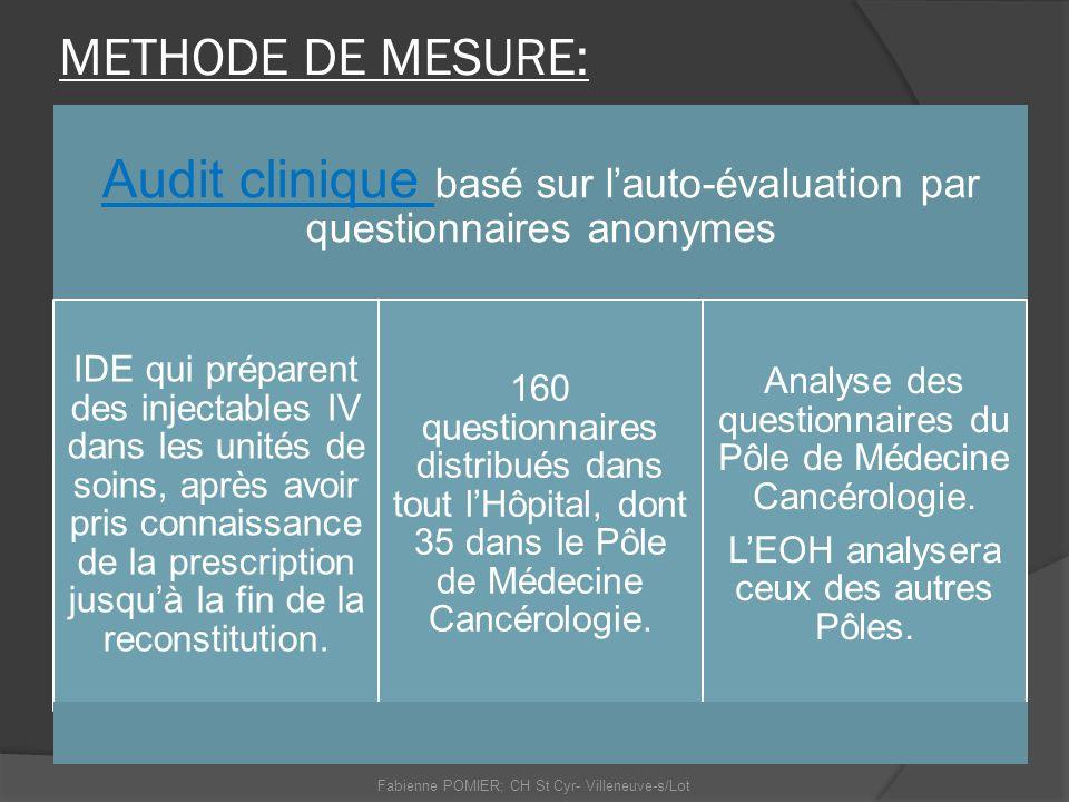 METHODE DE MESURE: Audit clinique basé sur lauto-évaluation par questionnaires anonymes IDE qui préparent des injectables IV dans les unités de soins,