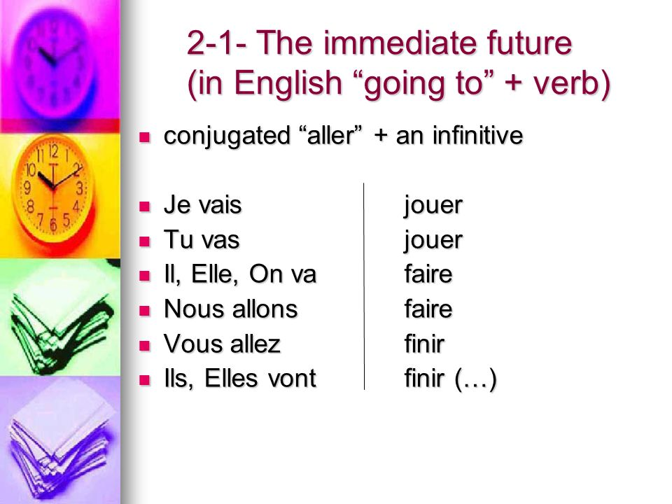 2-1- The immediate future (in English going to + verb) conjugated aller + an infinitive conjugated aller + an infinitive Je vaisjouer Je vaisjouer Tu vas jouer Tu vas jouer Il, Elle, On vafaire Il, Elle, On vafaire Nous allonsfaire Nous allonsfaire Vous allezfinir Vous allezfinir Ils, Elles vontfinir (…) Ils, Elles vontfinir (…)