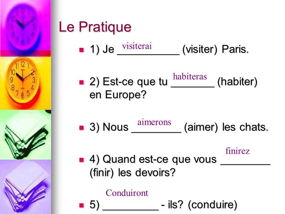 Le Pratique 1) Je __________ (visiter) Paris. 1) Je __________ (visiter) Paris.