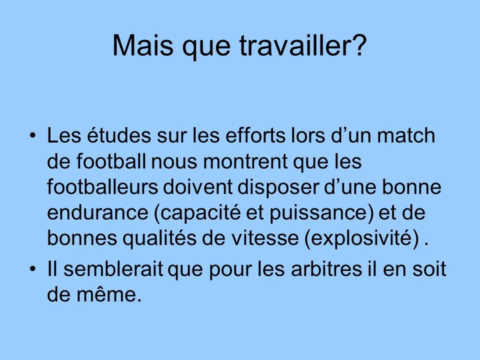 Mais que travailler? Les études sur les efforts lors dun match de football nous montrent que les footballeurs doivent disposer dune bonne endurance (c