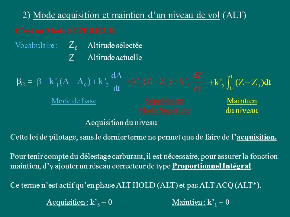 2) Mode acquisition et maintien dun niveau de vol (ALT) Cest un Mode SUPERIEUR Vocabulaire :Altitude sélectée Altitude actuelle Mode de baseSupplément