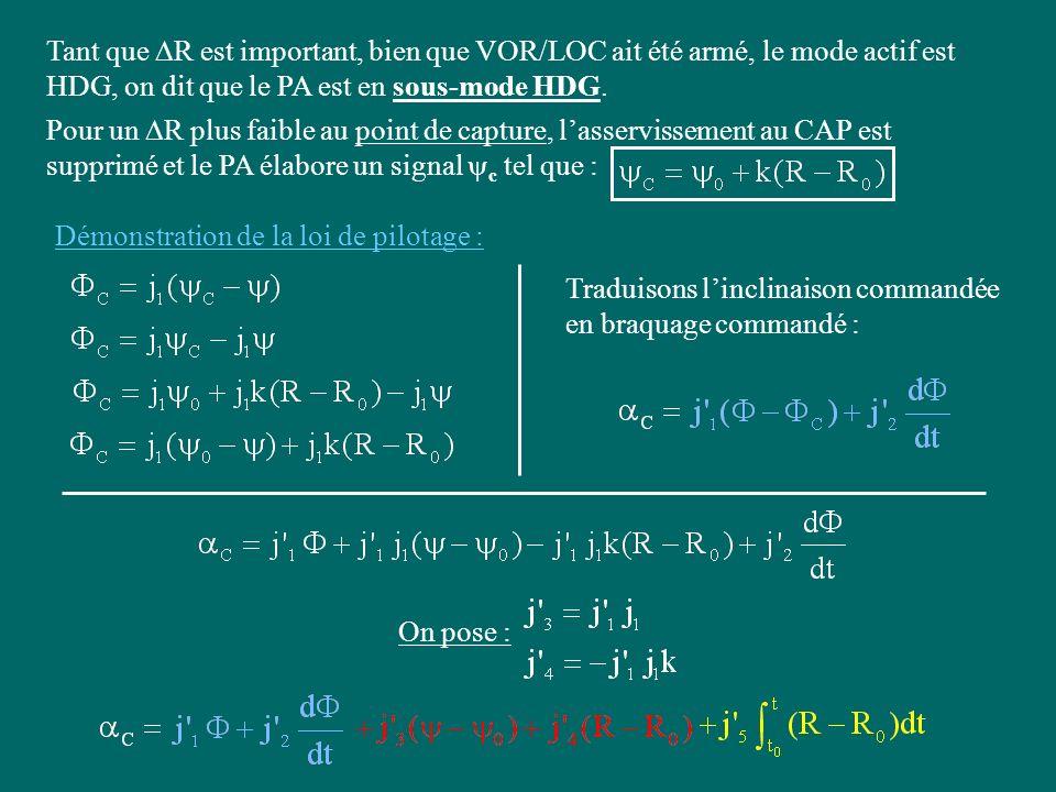 Tant que R est important, bien que VOR/LOC ait été armé, le mode actif est HDG, on dit que le PA est en sous-mode HDG. Pour un R plus faible au point
