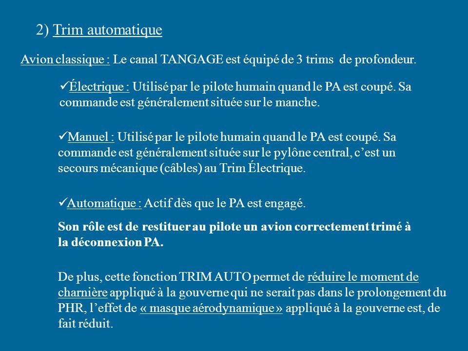 2) Trim automatique Avion classique : Le canal TANGAGE est équipé de 3 trims de profondeur. Électrique : Utilisé par le pilote humain quand le PA est