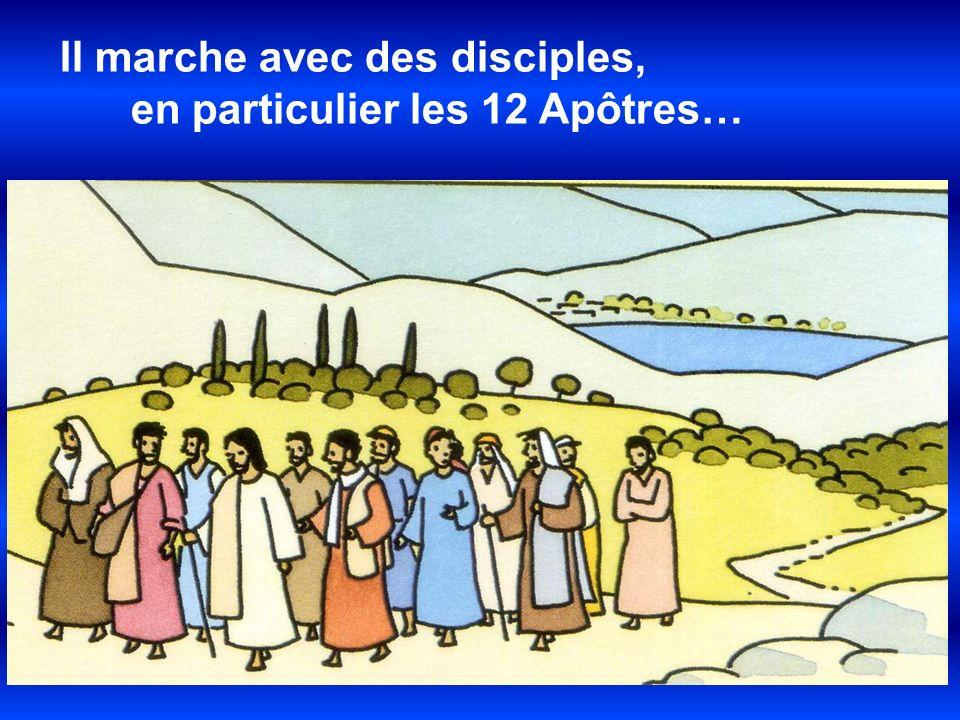 Il marche avec des disciples, en particulier les 12 Apôtres…