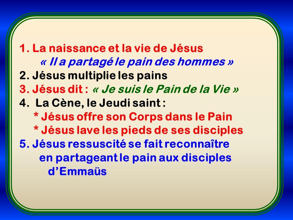 1. La naissance et la vie de Jésus « Il a partagé le pain des hommes » 2. Jésus multiplie les pains 3. Jésus dit : « Je suis le Pain de la Vie » 4. La