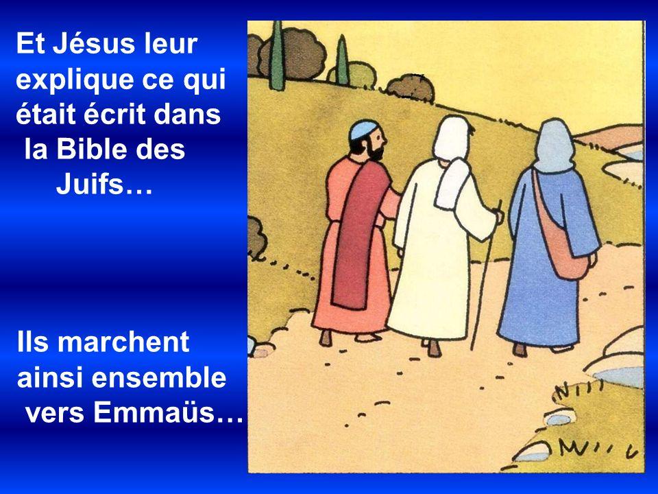 Et Jésus leur explique ce qui était écrit dans la Bible des Juifs… Ils marchent ainsi ensemble vers Emmaüs…