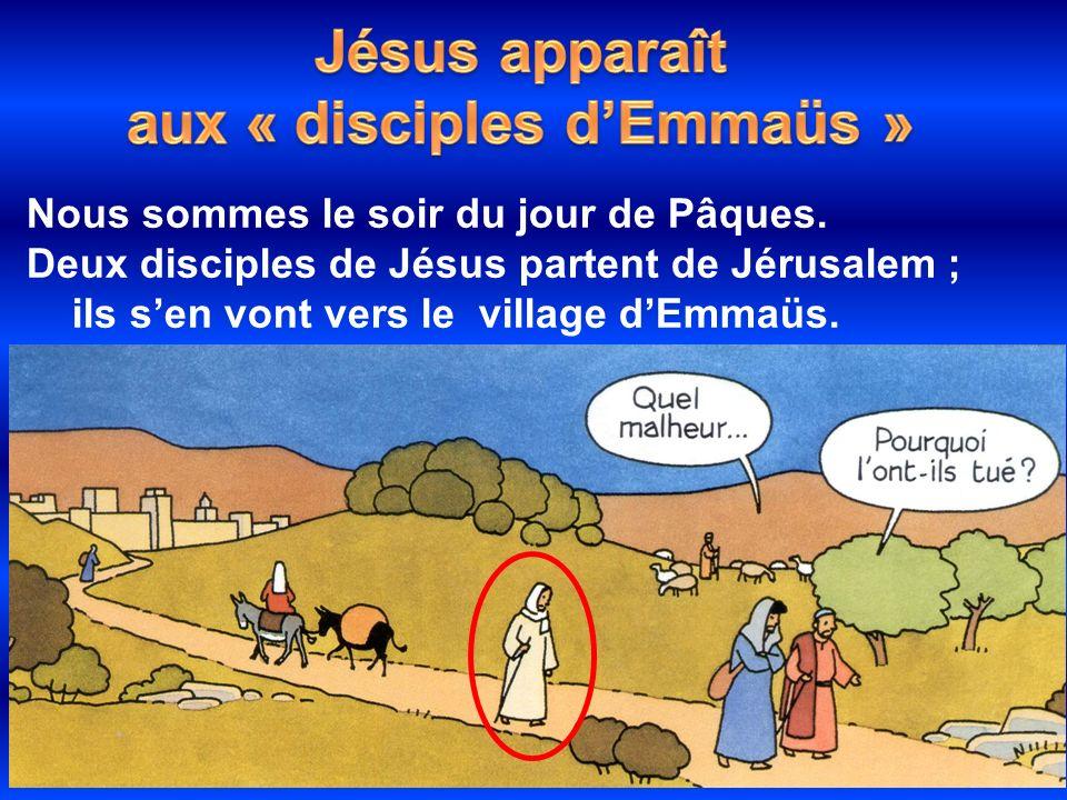 Nous sommes le soir du jour de Pâques. Deux disciples de Jésus partent de Jérusalem ; ils sen vont vers le village dEmmaüs.
