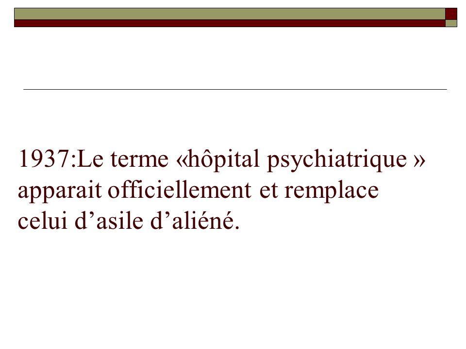 1937:Le terme «hôpital psychiatrique » apparait officiellement et remplace celui dasile daliéné.