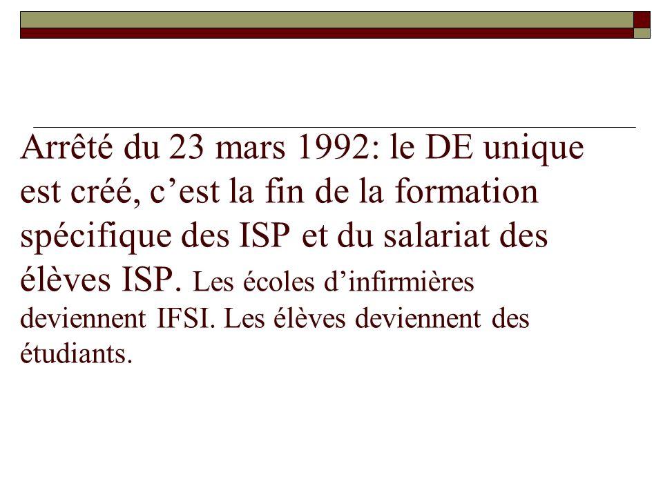 Arrêté du 23 mars 1992: le DE unique est créé, cest la fin de la formation spécifique des ISP et du salariat des élèves ISP. Les écoles dinfirmières d