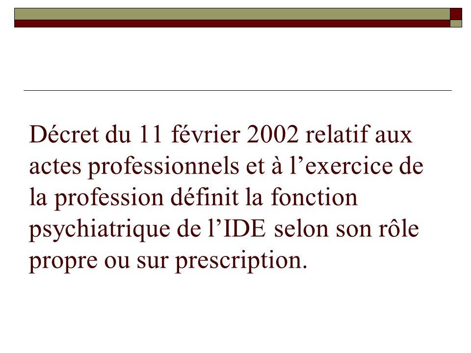 Décret du 11 février 2002 relatif aux actes professionnels et à lexercice de la profession définit la fonction psychiatrique de lIDE selon son rôle pr