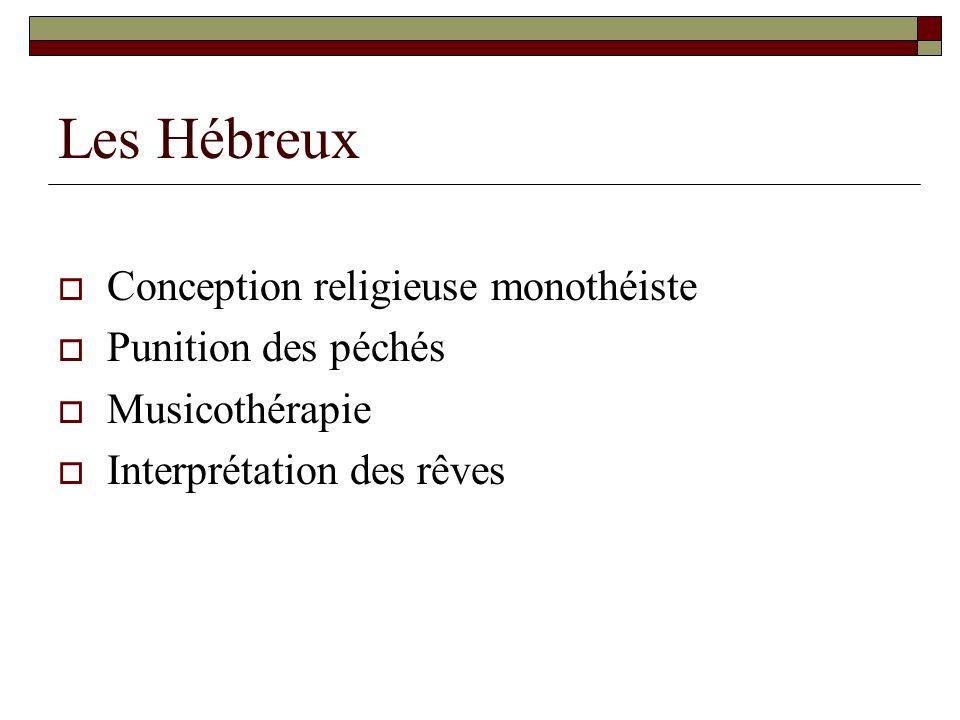 Les Hébreux Conception religieuse monothéiste Punition des péchés Musicothérapie Interprétation des rêves