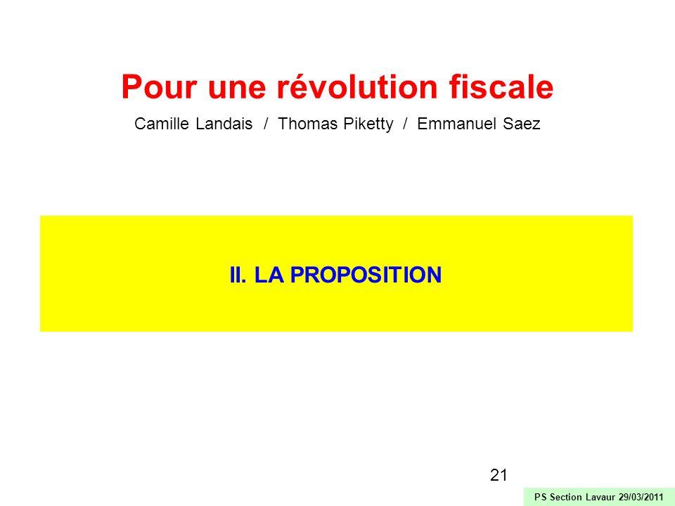 21 II. LA PROPOSITION Pour une révolution fiscale Camille Landais / Thomas Piketty / Emmanuel Saez PS Section Lavaur 29/03/2011