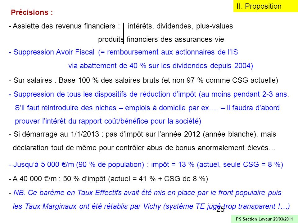 25 Précisions : - Assiette des revenus financiers : intérêts, dividendes, plus-values produits financiers des assurances-vie II. Proposition PS Sectio