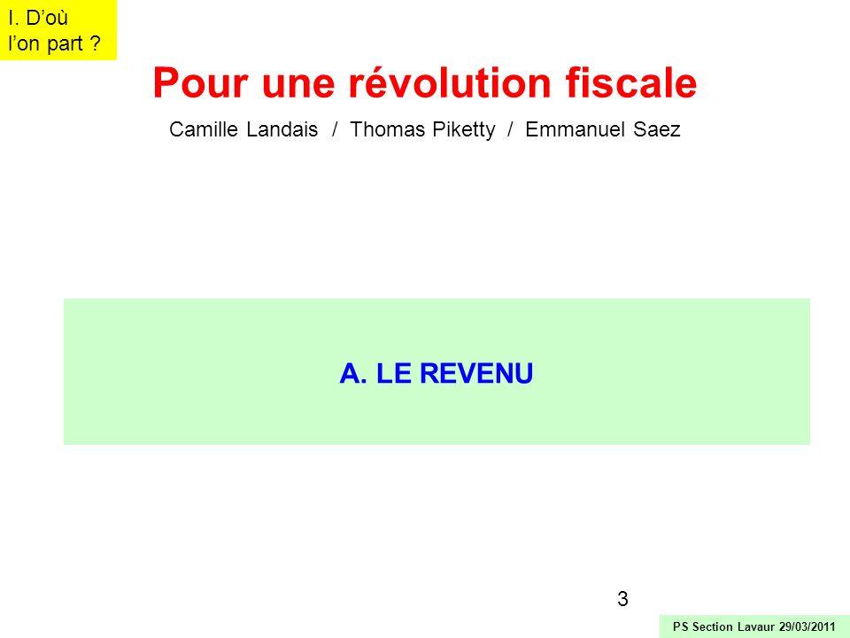 3 Pour une révolution fiscale Camille Landais / Thomas Piketty / Emmanuel Saez A. LE REVENU I. Doù lon part ? PS Section Lavaur 29/03/2011