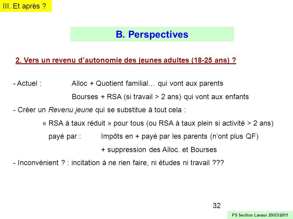 32 2. Vers un revenu dautonomie des jeunes adultes (18-25 ans) ? - Actuel : Alloc + Quotient familial… qui vont aux parents Bourses + RSA (si travail