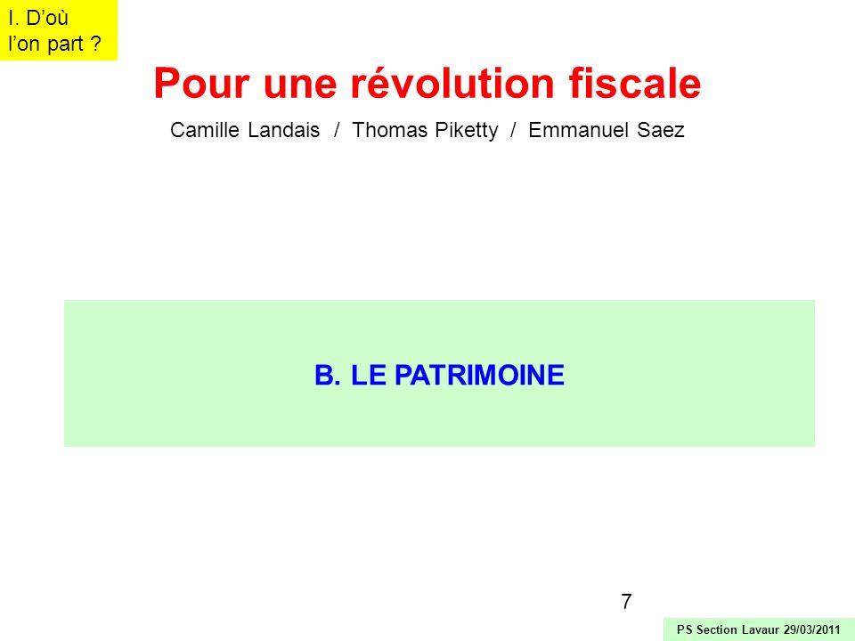 7 Pour une révolution fiscale Camille Landais / Thomas Piketty / Emmanuel Saez B. LE PATRIMOINE I. Doù lon part ? PS Section Lavaur 29/03/2011