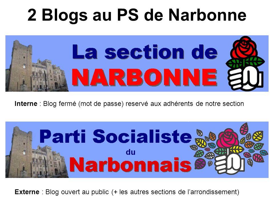 2 Blogs au PS de Narbonne Interne : Blog fermé (mot de passe) reservé aux adhérents de notre section Externe : Blog ouvert au public (+ les autres sections de larrondissement)