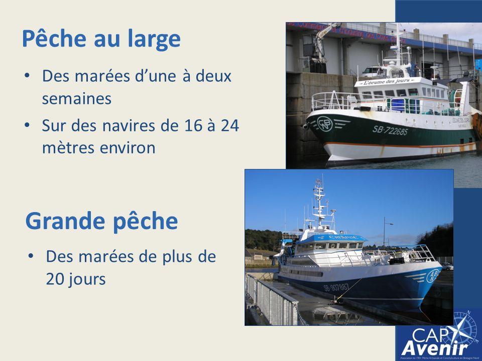 Pêche au large Grande pêche Des marées dune à deux semaines Sur des navires de 16 à 24 mètres environ Des marées de plus de 20 jours