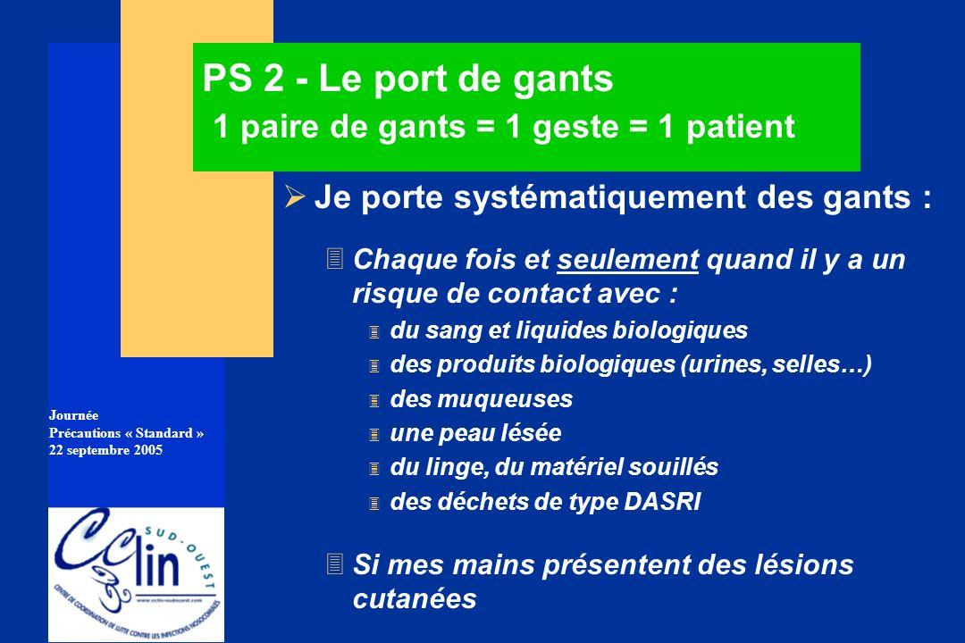 Journée Précautions « Standard » 22 septembre 2005 PS 2 - Le port de gants 1 paire de gants = 1 geste = 1 patient Je porte systématiquement des gants