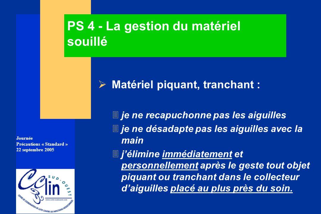 Journée Précautions « Standard » 22 septembre 2005 PS 4 - La gestion du matériel souillé Matériel piquant, tranchant : 3je ne recapuchonne pas les aig