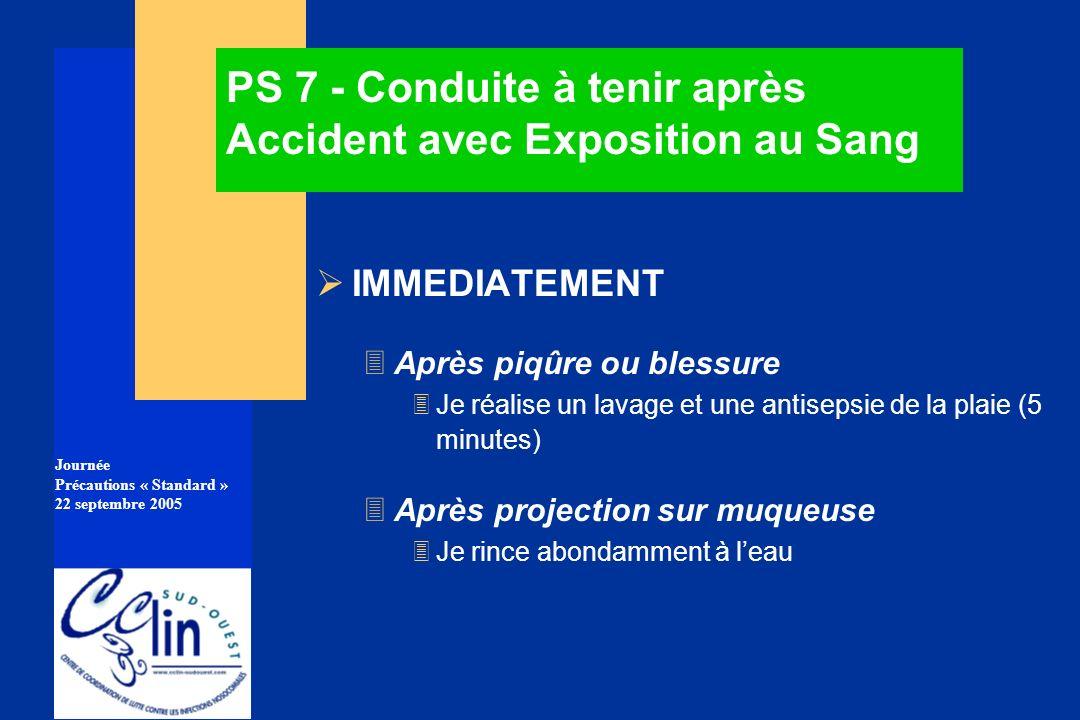Journée Précautions « Standard » 22 septembre 2005 PS 7 - Conduite à tenir après Accident avec Exposition au Sang IMMEDIATEMENT 3Après piqûre ou bless