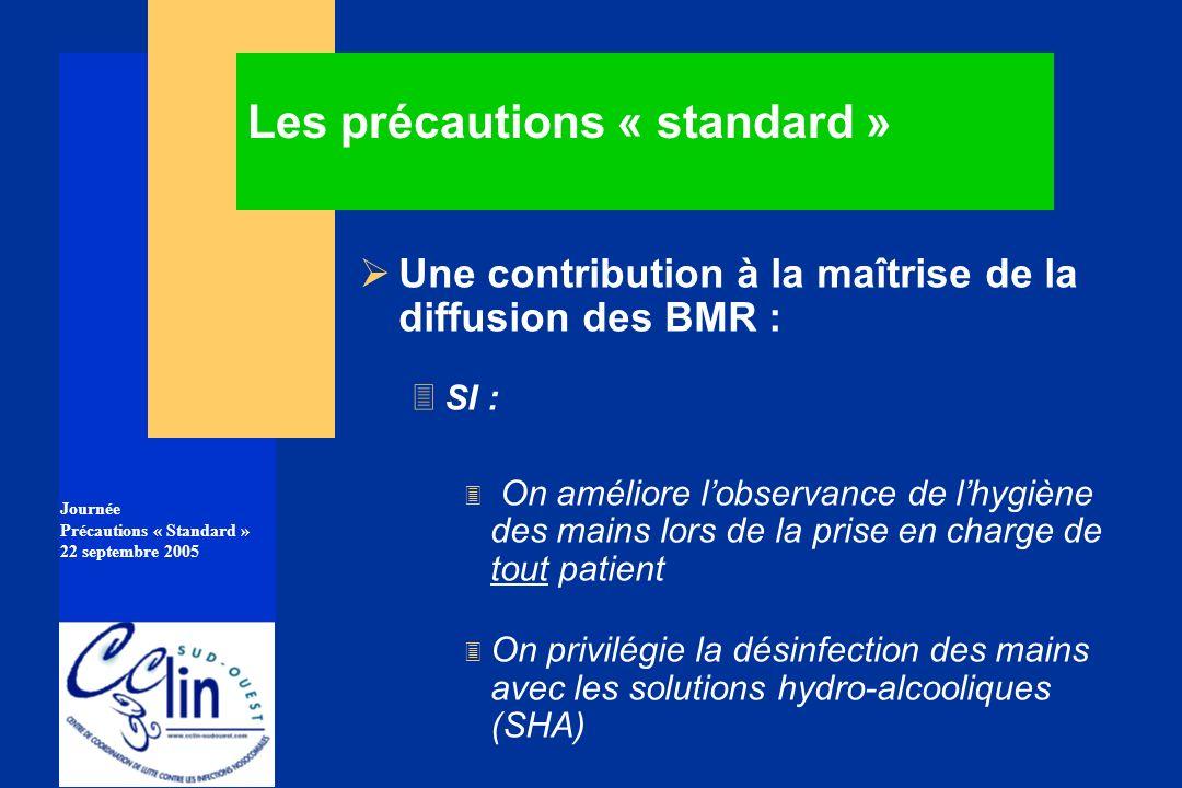 Journée Précautions « Standard » 22 septembre 2005 Les précautions « standard » Une contribution à la maîtrise de la diffusion des BMR : 3SI : 3 On am