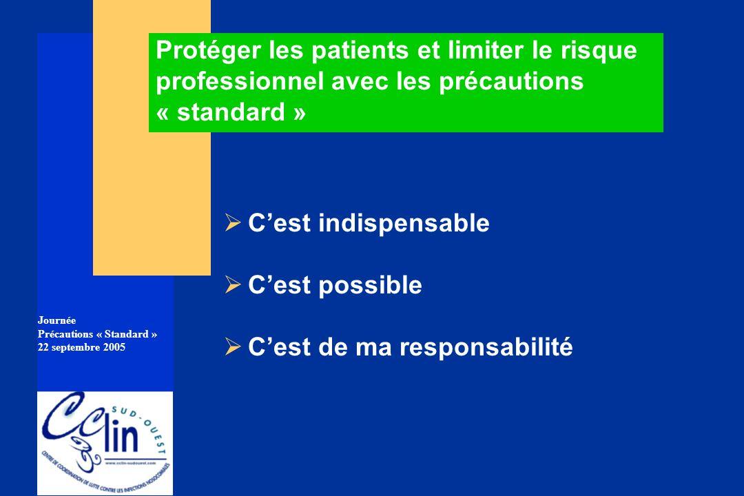 Journée Précautions « Standard » 22 septembre 2005 Protéger les patients et limiter le risque professionnel avec les précautions « standard » Cest ind