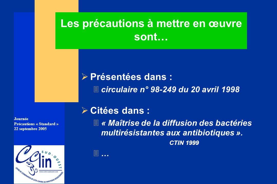 Journée Précautions « Standard » 22 septembre 2005 Les précautions à mettre en œuvre sont… Présentées dans : 3circulaire n° 98-249 du 20 avril 1998 Ci