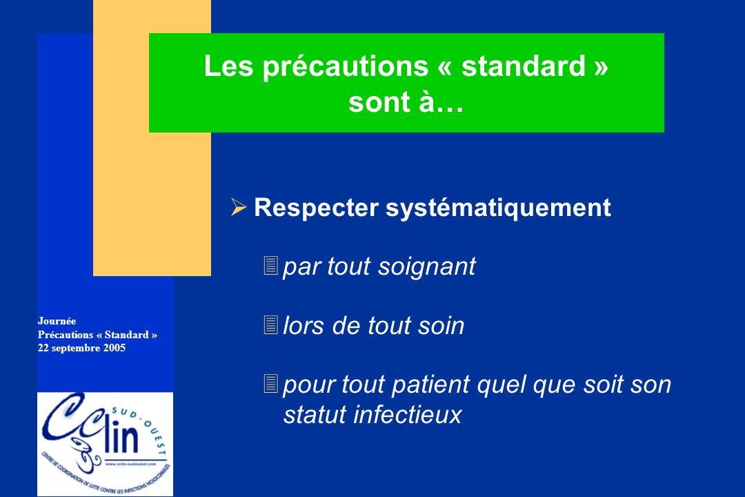 Journée Précautions « Standard » 22 septembre 2005 Les précautions « standard » sont à… Respecter systématiquement 3 par tout soignant 3 lors de tout
