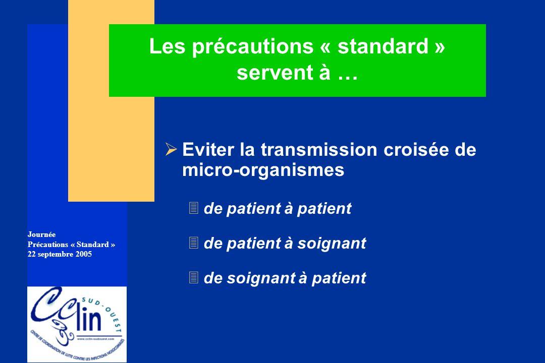 Journée Précautions « Standard » 22 septembre 2005 Les précautions « standard » servent à … Eviter la transmission croisée de micro-organismes 3 de pa