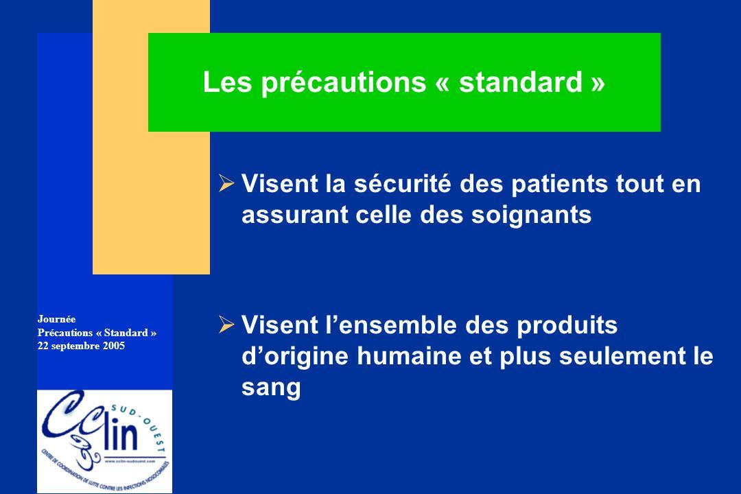 Journée Précautions « Standard » 22 septembre 2005 Les précautions « standard » Visent la sécurité des patients tout en assurant celle des soignants V